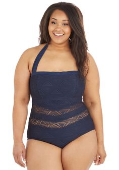 Just Add Water One-Piece Swimsuit in Plus Size. Youve found the perfect swimsuit in this navy-blue one piece by Jessica Simpson Swim. #blue #modcloth