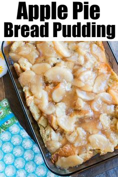 Apple pie bread pudding is what we're calling this but you can just call it delicious! The perfect Fall dessert with only 5 main ingredients. Old Fash Best Bread Pudding Recipe, Bread Pudding With Apples, Pudding Recipes, Fruit Recipes, Apple Recipes, Sweet Recipes, Summer Recipes, Easy Recipes
