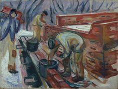 Edvard Munch – Pedreiros Trabalhando na Construção do Estúdio, 1920