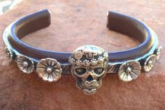 C24 Mi Vida Loca Skull with Flowers Sterling  Silver Inlayed on Leather Southwestern Native Style Cuff