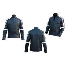 Men Back Stripped Genuine Leather Jacket