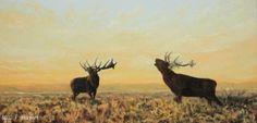 Edelherten. Red deer. Olieverf op doek.