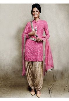 Vikram Phadnis Pink and Beige Patiala Suit