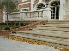 Coping & Stair Treads: Aux Vases Buff Bullnosed Treads  www.earthworksstone.net