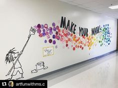 """How will your students make their mark? with ・・・ This week our student made their """"mark"""" as a reminder to never give up and to help motivate and encourage each other! Project inspired by """"The Dot""""📚and display inspired by 👩🏼🎨🎨💕 School Murals, Art School, School Hallways, School Office, New School Year, Art Bulletin Boards, Inspirational Bulletin Boards, Interactive Bulletin Boards, Back To School Bulletin Boards"""