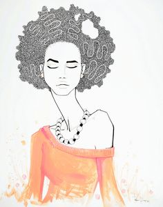 art print, girl with coral afro, black, white, pink and orange. $82.00, via Etsy.