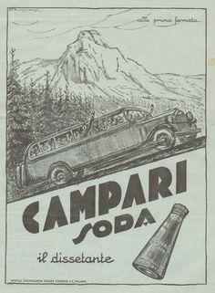 J0290 CAMPARI SODA - Illustrazione automobile - Pubblicità del 1935 - Old advert