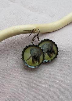 Baby elephant earrings Bottle Cap Earrings, Elephant Earrings, Baby Elephant, Elephant Baby, Baby Elephants