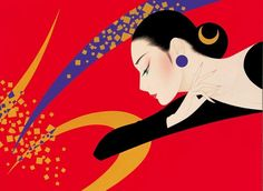 Ichiro Tsuruta's* paintings are influenced by 'Ukiyo-e' the ancient Japanese paintings of young woman such as 'Utamaro' and 'Hokusai'. He diversifies the style by fusing European Art Déco style. For biographical notes -in english and italian- and other works by Tsuruta, see: Ichiro Tsuruta 鶴田一郎, 1954 | Bijin-ga Art / Japanese beauty ⥅