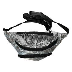 The Break Dancer Sequin Fanny Pack   Silver Fanny Pack   Shiny Fanny Pack