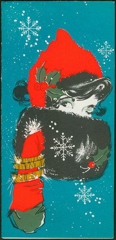Christmas •~• vintage blue, green, red, and black lady with muff greeting card, 1966