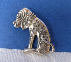 Sterling Silver Dog Pin Vintage BEAU Small Brooch by Vanityfare, $15.00