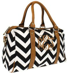 Monogrammed chevron travel tote.