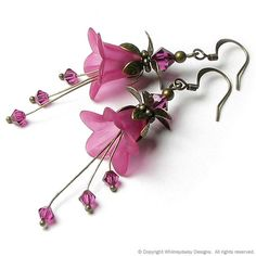 Exotic Fuchsia Floral Fantasy Crystal Earrings