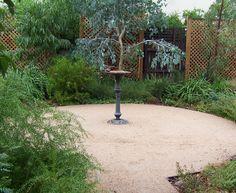 Australian native garden with bird bath Australian Garden Design, Australian Native Garden, Backyard Renovations, Dry Garden, Farm Gardens, Native Gardens, Patio Design, Backyard Designs, Gardening