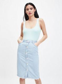 6ba6f6a8710d Womens Light Blue Button Front Midi Skirt