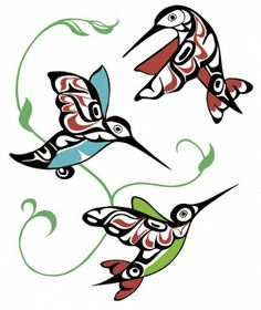 Hummingbirds by Odin Lonning / Hummingbird tattoo art idea Inuit Kunst, Arte Inuit, Inuit Art, Native American Design, American Indian Art, Native Design, Arte Tribal, Tribal Art, Art Haïda