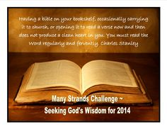 Have you heard about the Many Strands Challenge??? We are reading through the New Testament in 90 Days. You may be coming late to the party, but if you want REAL change in your life...you need to be reading the BIBLE every day!