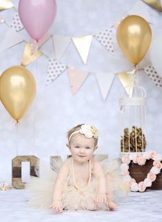 Gold, pearls, rhinestones and a tutu!! PERFECT for those first year pictures!! 3 piece set includes...headband, tutu and our signature pearls! For every tutu purchased, Kadee's Kloset donates a tutu to a children's hospital or organization.