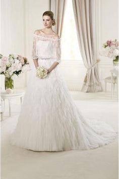 Glamoures Luxuriöse Brautkleider 2014 aus Softnetz mit Perlenstickerei