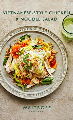 Fresh, healthy dinner, ready in 35 mintues. Vietnamese-style chicken and noodle salad with zingy ginger, crunchy shredded gem lettuce and peeled carrots. Tap to see the full Waitrose & Partners recipe. Healthy Eating Recipes, Lunch Recipes, Dinner Recipes, Cooking Recipes, Fun Easy Recipes, Light Recipes, Asian Recipes, Waitrose Food, Comidas Fitness