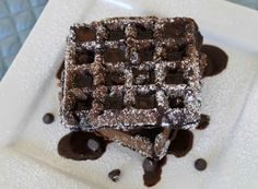 Chocolate waffles with choc. syrup- Might just be Hubs Birthday Breakfast in Bed this weekend....