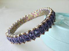 Swarovski Crystal Bangle Seed Bead Bracelet by CharlotteJewelryBox, $150.00