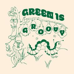 Green is groovy illustration art print , illustration, aesthetic art print, square art print