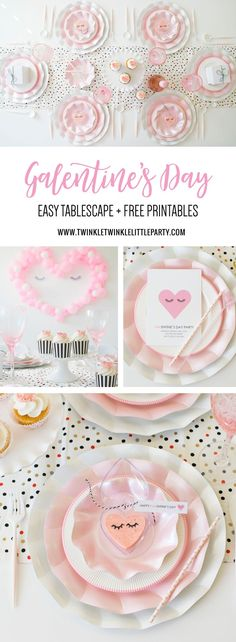 Galentine's Tablescape Ideas, free Galentine's Day printables and pink fudge heart Valentine's Day Favors