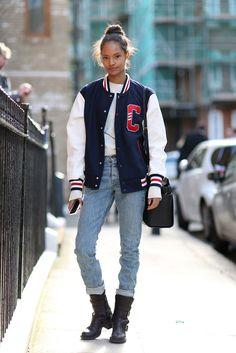 70 Amazing London Street-Style Snaps #refinery29 http://www.refinery29.com/london-fashion-week-street-style#slide-8 Looks like the varsity jacket is here to stay....