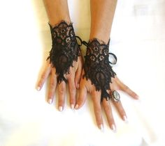 Goth gothic Black lace gloves french lace  bridal  wedding fingerless burlesque body tattoo   vampire show girl glove