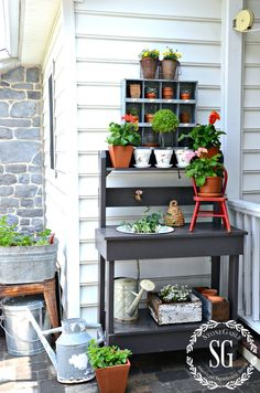 SUMMER POTTING BENCH-potting bench near the back porch-stonegableblog.com