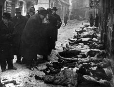 Budapest, Hungary, A line of corpses at the site of the former ghetto.  - Hungary, Persecution of Hungarian Jews, 1938-1945