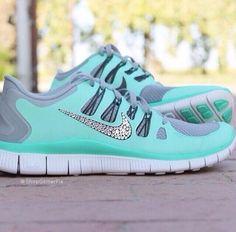 Shoes: glitter nikes nike air nike running nike teal mint bling nike free run running aqua teal
