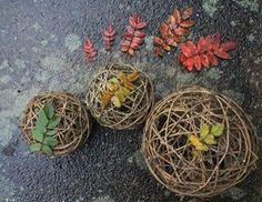 Willow balls 2. Land art by Merja Saarela