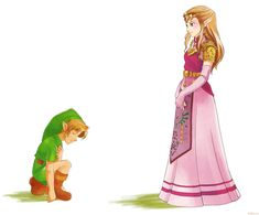 """Young Link bowing to Adult Princess Zelda - The Legend of Zelda: Ocarina of Time; fan art by lulles <3 """"Her Highness"""""""