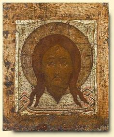 Mandylion.  The theme originates with the legend of King Abgar of Edessa who, being ill and hearing of Christ's miraculous powers, sent his ambassadors to Jerusalem to obtain a cure. Jesus was too busy to come but, finding the image of his face on a towel with which he had wiped himself, sent the cloth to the king. Abgar was duly healed and the icon, not having been painted, acquired its strange title.