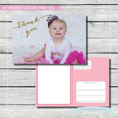 Thank You Postcards for Birthday, Baby Shower or Bridal Shower. {DIGITAL PRINTABLE NOTECARD} Birthday Party or Baby Shower Thank You Card by SouthernSwish