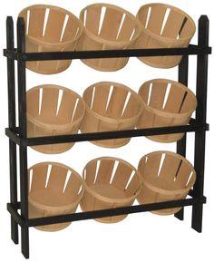 Tiered Wooden Display, Floorstanding, 9 Baskets - Green & Oak