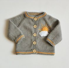 Knitted baby girl cardigan merino jacket wool sweater grey baby girl jacket with sun applique MADE TO ORDER