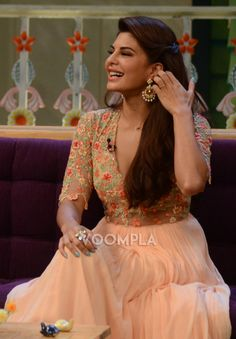 Jacqueline Fernandez traditional avatar in a lovely Ridhi Mehra anarkali. via Voompla.com