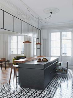Modern kitchen with classic architectural details, printed tile floors, and rose gold pendant lights Kitchen Interior, Kitchen Flooring, Interior, Kitchen Remodel, Kitchen Decor, New Kitchen, House Interior, Home Kitchens, Kitchen Design