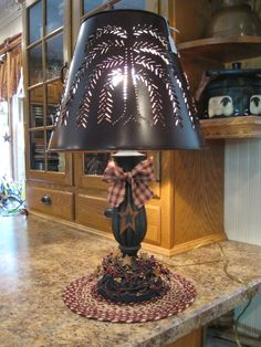 Lamp With Willow Tree Shade In 2019 Country Decor Primitive Homes, Primitive Living Room, Primitive Kitchen, Primitive Furniture, Primitive Crafts, Country Primitive, Primitive Antiques, Primitive Stars, Prim Decor