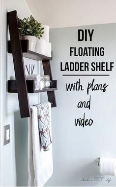 This is the shelf I have been waiting for! This DIY floating ladder shelf is so genius! Build a DIY floating ladder shelf with this step by step tutorial, plans and video. Build a unique combination of DIY ladder shelf and DIY floating shelf. Easy Woodworking Projects, Woodworking Furniture, Diy Wood Projects, Woodworking Plans, Popular Woodworking, Woodworking Classes, Woodworking Organization, Woodworking Shop, Intarsia Woodworking