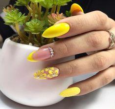 Summer Acrylic Nails, Summer Nails, Romantic Nails, Almond Nails Designs, Acrylic Flowers, Gelish Nails, Yellow Nails, Bling Nails, Cool Nail Designs