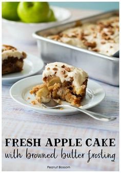 Make-ahead apple cake with browned butter frosting Easy Baking Recipes, Easy Cake Recipes, Great Recipes, Baker Recipes, Party Recipes, Easy Apple Cake, Fresh Apple Cake, Make Ahead Desserts, Easy Desserts