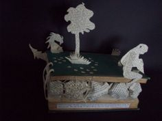 Fairy tale Book Sculpture - Waiting for dragons Book art, altered book