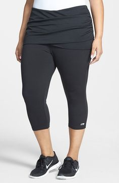MARIKA CURVES 'Alice' Skirted Capri Leggings (Plus Size) available at #Nordstrom
