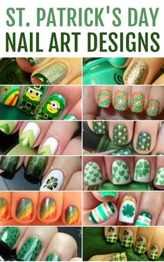 If you are in need of a little pinch proof nail art design then these St. Patrick's Day nails will be right up your alley. Everything from shamrocks to rainbows and gold glitter. St Patricks Day Nails, St. Patricks Day, Saint Patricks, Cute Nail Art Designs, Irish Nail Designs, Cute Nails, Pretty Nails, Hair And Nails, My Nails