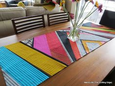 """""""Aura quilt"""" uses a QAYG method I might actually enjoy--very modern, doesn't require identical squares!! Join on an angle. By the extremely talented MariQuilts at thequiltingedge.com"""